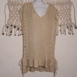 NewYork&Co cream cable ribbed knit tunic tie top